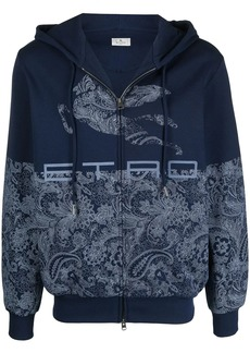 Etro panelled paisley zip-up hoodie