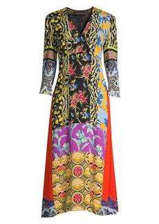 Etro Patchprint V-Neck Dress
