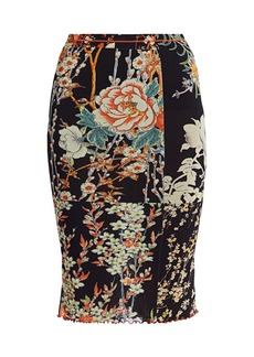 Etro Patchwork Floral Jersey Midi Skirt