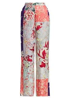 Etro Patchwork Floral Wide-Leg Trousers