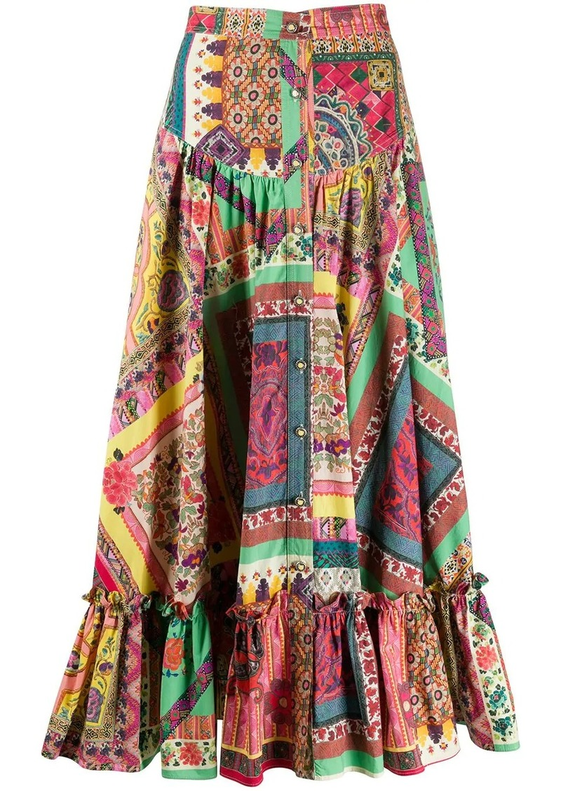 Etro patchwork midi skirt