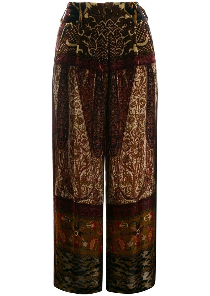 Etro patchwork print cropped trousers