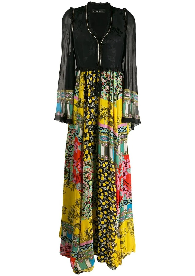 Etro patchwork-print long dress