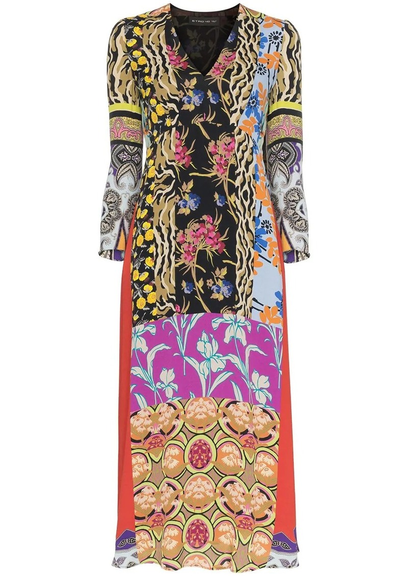Etro patchwork print midi dress