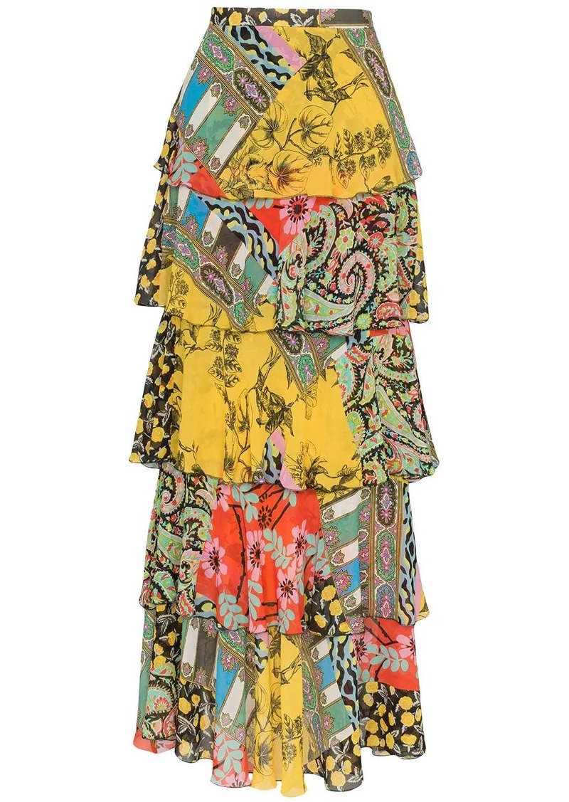 Etro patchwork ruffle maxi skirt