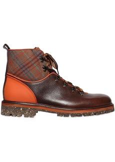 Etro Plaid & Leather Hiking Boots