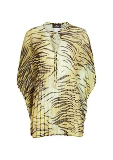 Etro Pleated Cape-Sleeve Blouse