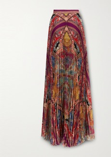 Etro Pleated Floral-print Georgette Maxi Skirt
