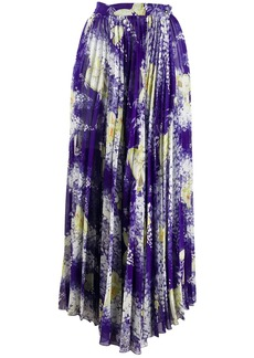 Etro pleated floral print skirt
