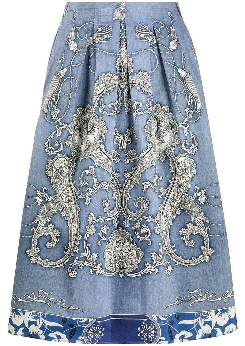 Etro pleated paisley print skirt