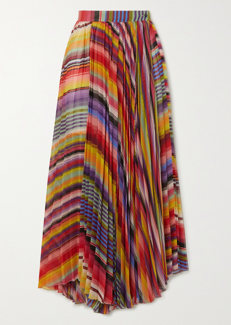 Etro Pleated Striped Chiffon Midi Skirt