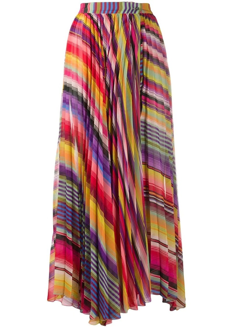 Etro pleated striped print skirt