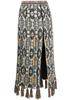 Etro pleated tassel-trim skirt