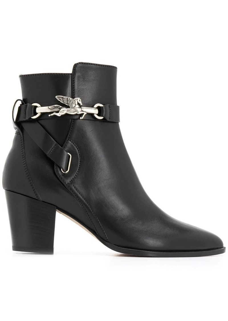 Etro pointed toe branded ankle boots