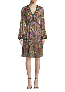 Etro Pop-Star Paisley V-Neck Balloon-Sleeve Dress