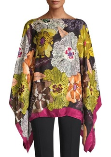Etro Poppy Silk Blend Poncho Top