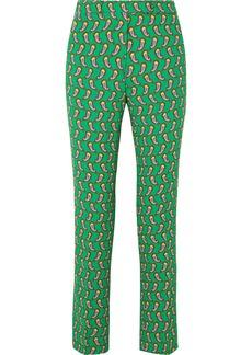 Etro Printed cropped crepe slim-leg pants