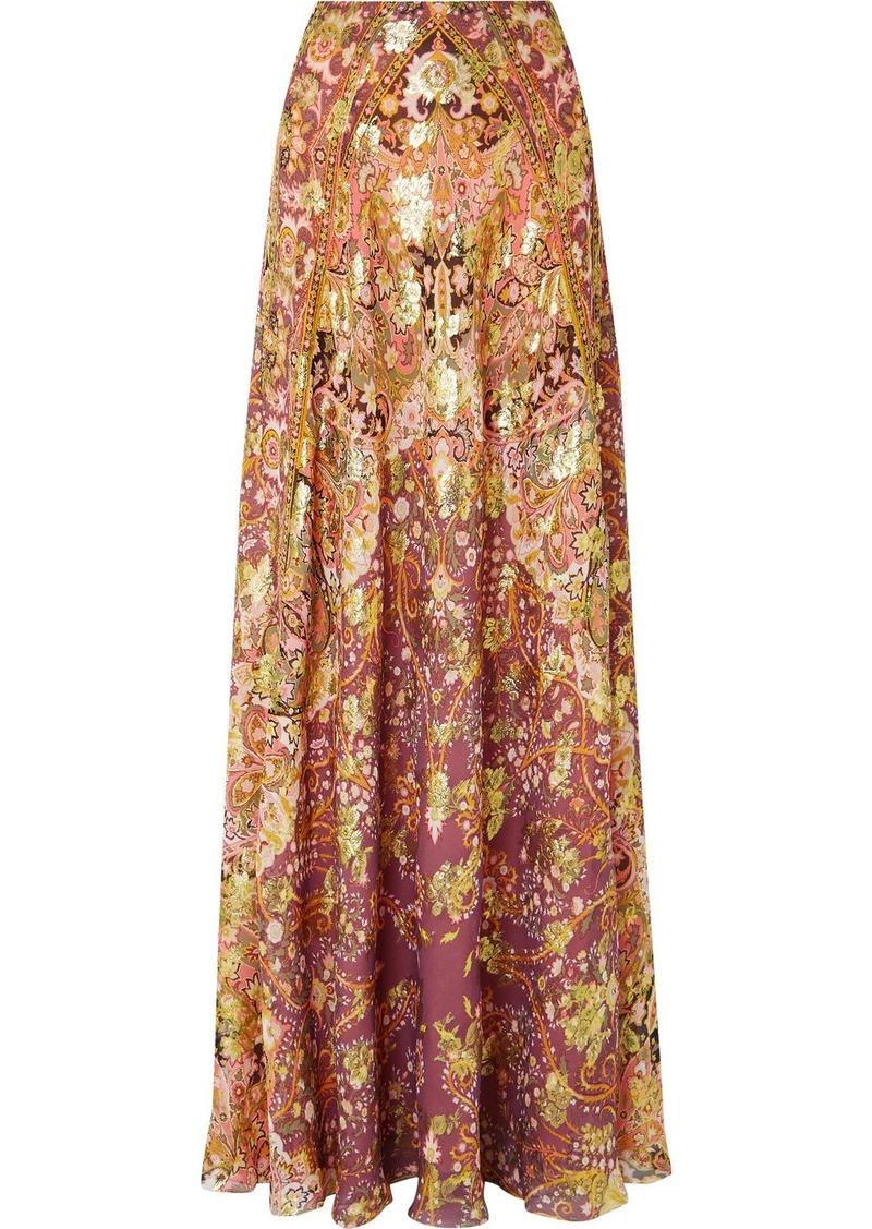 Etro Printed Fil Coupé Silk-blend Georgette Maxi Skirt