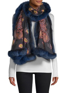 Etro Printed Fur-Trimmed Cashmere & Silk Scarf