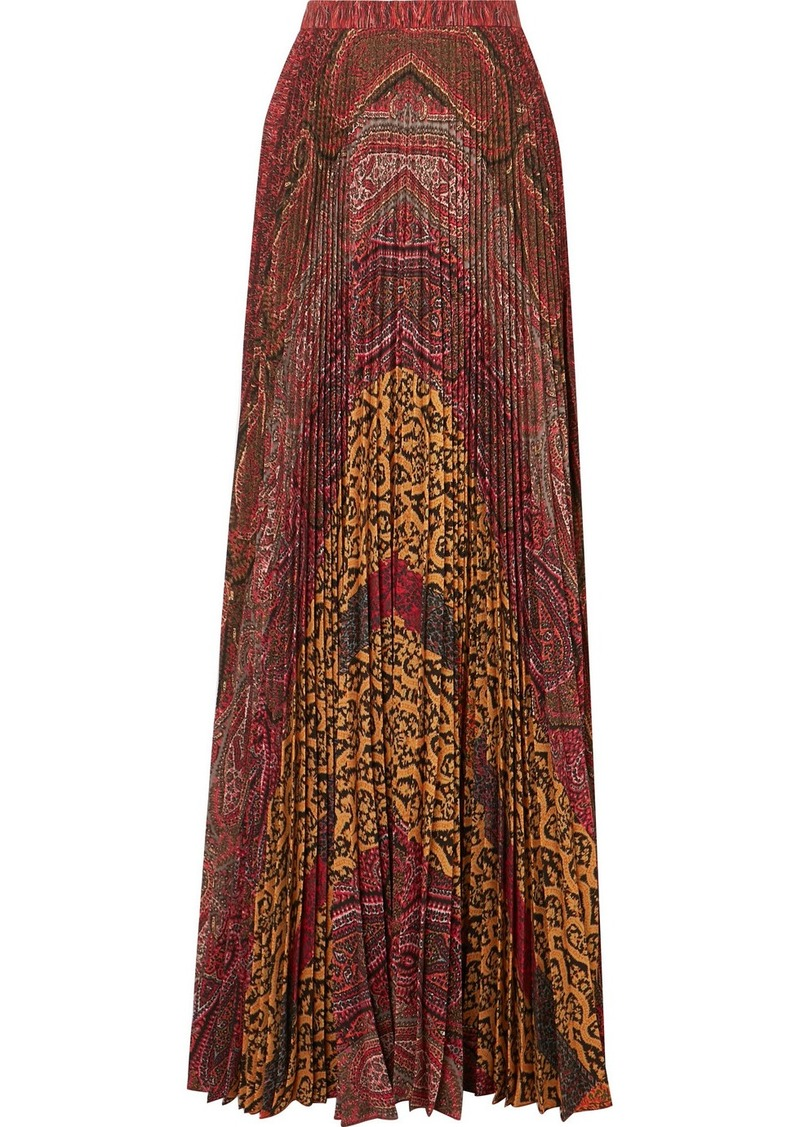 Etro Printed Pleated Crepe De Chine Maxi Skirt