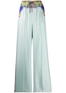 Etro printed satin-twill trousers