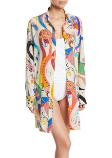 Etro Printed Silk Button-Front Coverup Dress