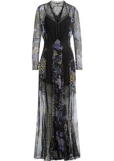 Etro Printed Silk Chiffon Floor Length Dress with Lace