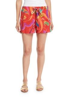 Etro Printed Silk Coverup Shorts