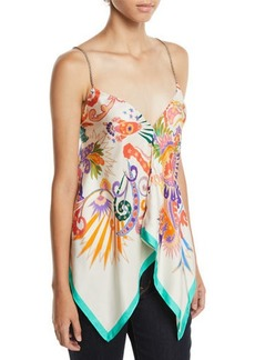 Etro Printed Silk Handkerchief Top