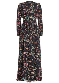 Etro Printed Silk Maxi Dress with Lace