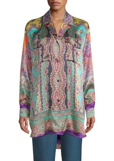 Etro Printed Silk Tunic Top