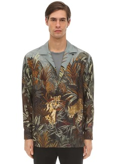 Etro Printed Tiger Silk Bowling Shirt