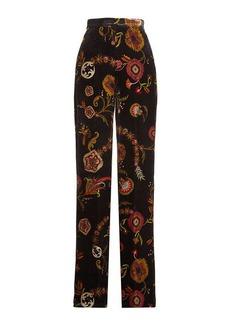 Etro Printed Velvet Pants with Silk