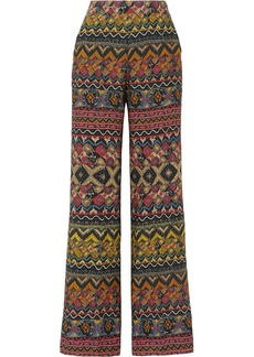 Etro Printed Wool And Silk-blend Twill Wide-leg Pants