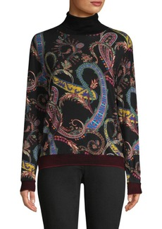 Etro Printed Wool-Blend Turtleneck Sweater