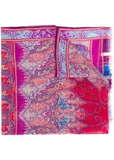 Etro raw edge floral print scarf