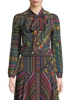 Etro Ribbon-Print Silk Georgette Jabot Blouse