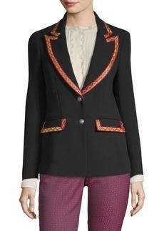 Etro Ribbon Trim Wool Blazer