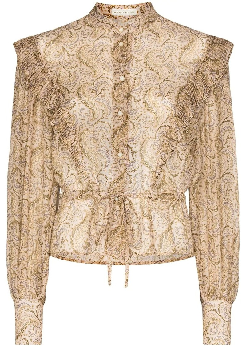 Etro ruffle-trimmed paisley-print blouse