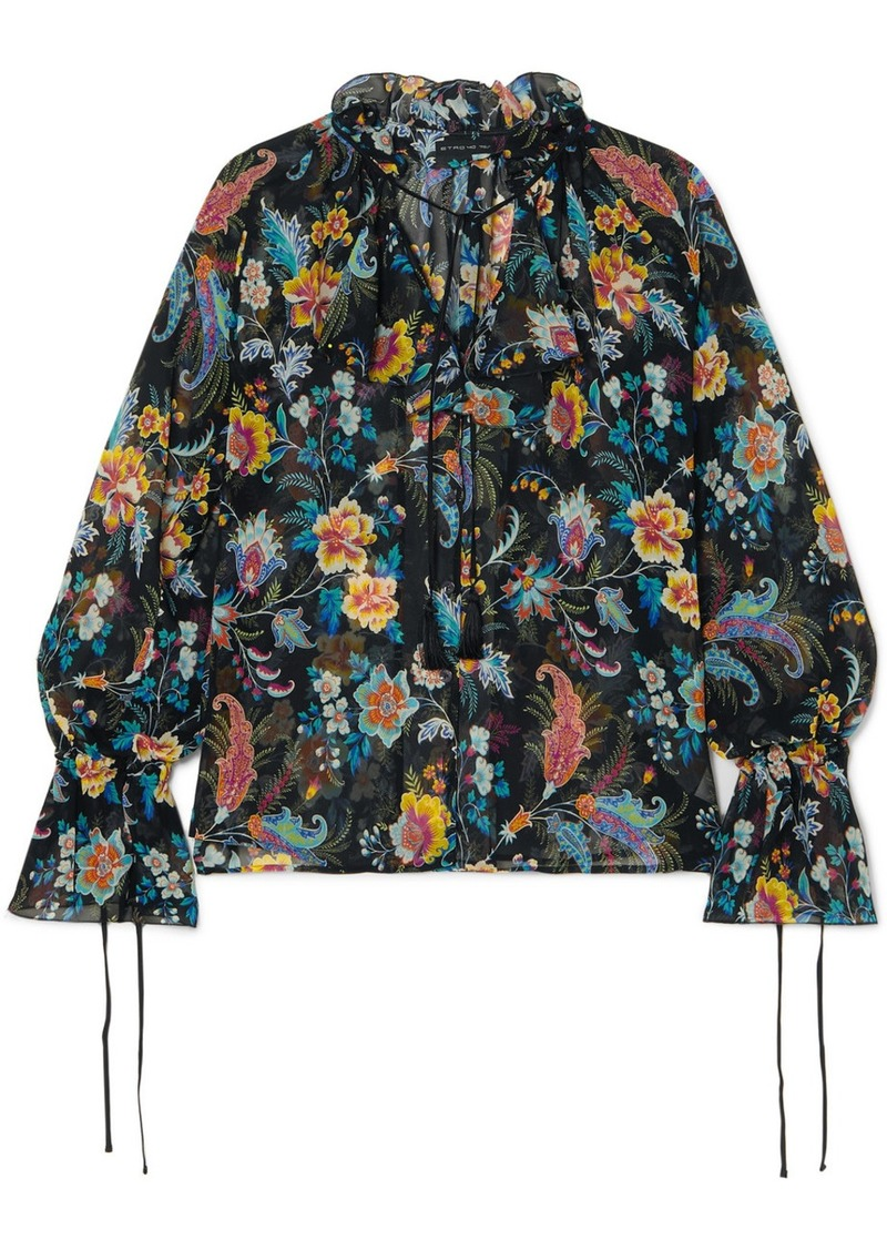 Etro Ruffled Floral-print Silk-chiffon Blouse