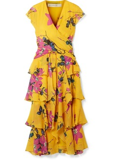 Etro Ruffled floral-print silk crepe de chine midi dress
