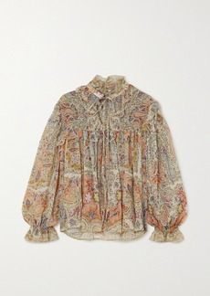 Etro Ruffled Paisley-print Silk-chiffon Blouse