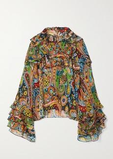 Etro Ruffled Paisley-print Silk-crepon Blouse