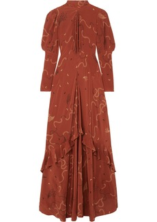 Etro Ruffled Printed Silk-chiffon Maxi Dress