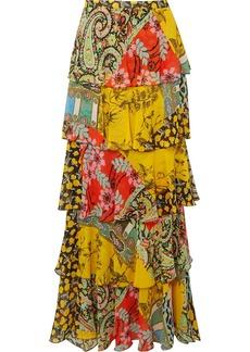 Etro Ruffled Printed Silk-chiffon Maxi Skirt
