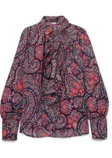 Ruffled printed silk crepe de chine blouse