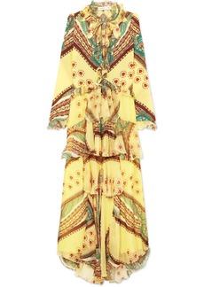 Etro Ruffled Printed Silk-crepon And Crepe De Chine Maxi Dress