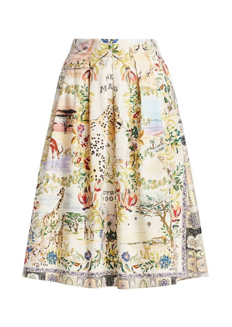 Etro Safari Print Pleated Midi Skirt