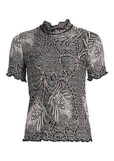Etro Scalloped Fern Knit T-Shirt