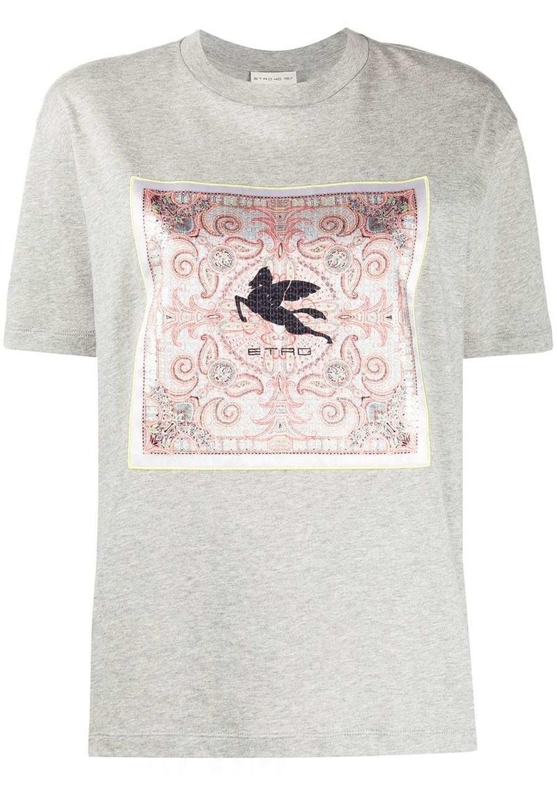 Etro scarf-panelled T-shirt